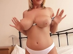 Big Booty Blonde Has Sport down Her Juicy Love melons