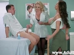 Two gaffer doctors Nikki Benz and Briana Banks sucking one prick