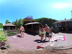 3-Way Porn - VR Group Fuckfest by the Pool in Influence a rear 360