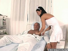 Slutty nurse Black Angelika fucks in the clinic bed