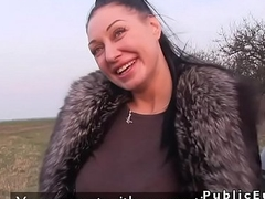 Czech busty babe bangs in the car in public