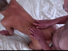 Gorgeous blonde sucking coupled with fucking old cock for a hot cumshot shower