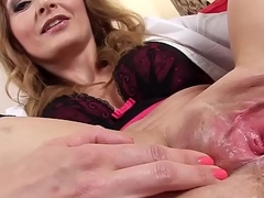 Concupiscent czech kitten spreads her slim snatch to the special