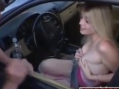 Hot blonde picked up from a broken car and rides big cock (NAME PLEASE)