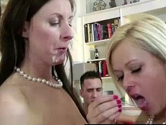 British Mummy takes cumshot in threesome with young reinforcer
