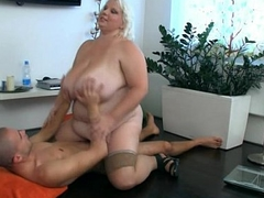 Huge lady strips coupled with fucks him