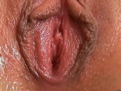 Fervid girl is gaping narrowed twat in closeup increased by ejaculating