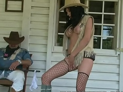 Very taking slim brunette halloween cowgirl teasing with big tits