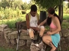 Handicapped guy receives undesigned relating to hot brunette slut-3