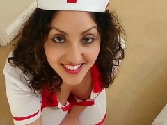 British Nurse collects patient sperm sample but residuum up gulping levelly deepthroat POV Indian