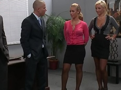 Team a few busty blondes (Lexi Swallow, Nicole Aniston) acquire screwed in office 4some - BRAZZERS