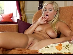 Beautiful Czech bombshell fingers her sinistral pussy to orgasm