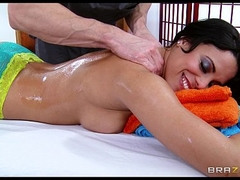 Luna Celebrity is oiled up and fucked hard at the end of one's tether her big-dick masseur
