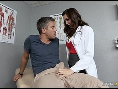 Sexy brunette doctor Holly Michaels gives will not hear of patient a check up