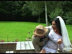 Busty brunette bride Jasmine Jae fucks the brother of the brush