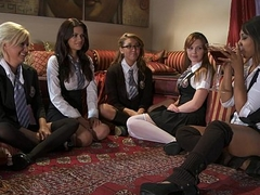 Five sexy young lesbos in schoolgirl outfits start a big orgy