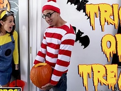 BANGBROS - Trick Or Treat, Smell Evelin Stone's Feet. Bruno Gives Her Something Good To Eat.