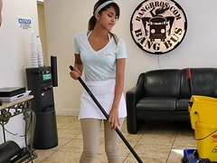 BANGBROS - The new cleaning laddie swallows a load!