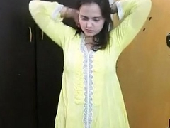 Indian Bhabhi Sonia In Yellow Shalwar Suit Acquiring Naked In Bedroom For Coitus