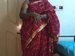 desi  indian tamil telugu kannada malayalam hindi horny cheating wife vanitha wearing cerise red colour saree showing big knockers and shaved pussy churn hard knockers churn nip rubbing pussy masturbation