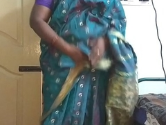 desi indian tamil telugu kannada malayalam hindi sweltering wife vanitha wearing blue colour saree resembling big boobs and shaved pussy press hard boobs press nip rubbing pussy masturbation