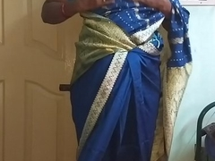 des indian horny cheating tamil telugu kannada malayalam hindi fit together vanitha wearing blue colour saree  showing big boobs and shaved pussy press hard boobs press nip scraping pussy masturbation
