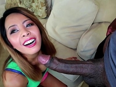 Little Asian Wants to have a go a Big Jet-black Dick