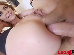 Exxxtra Goregeous Angel Smalls folded to half, choked and DP'ed!