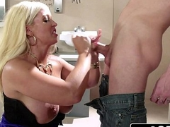 Sneaky Italian Blonde Bimbo MILF Alura Jenson Sucks Cock In The Theater
