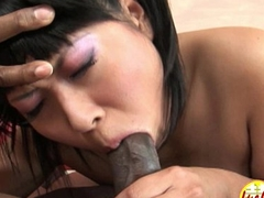 Fat black cock in tiny asian pussy with small tits in top-drawer interracial fuck
