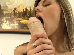 Sindy Vega fills her tiny pussy with a big calumnious dildo