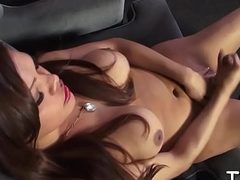 Fuckable tgirl is whacking off