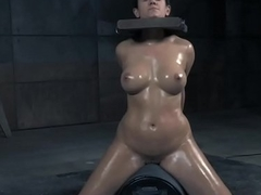 Dominated sub rides sybian and gags on sex toy