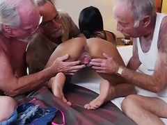 Magnificent Nikki Kay sexy orgy here old rich men