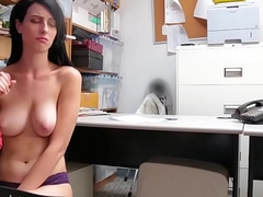 Alex Harper faces a huge cock in an office
